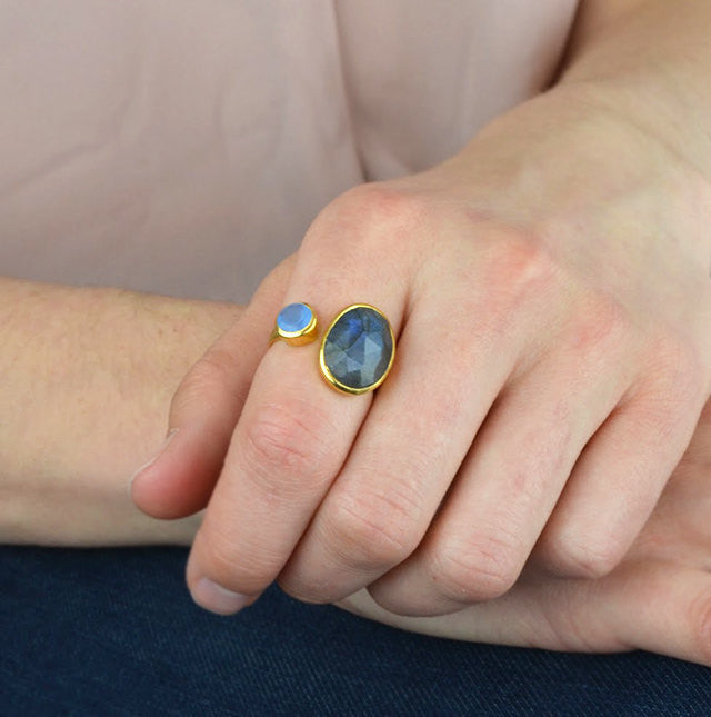 c6bd9b8be5cbe Double Stone Ring, Oval Labradorite Ring, Adjustable Ring, Blue Chalcedony  ring