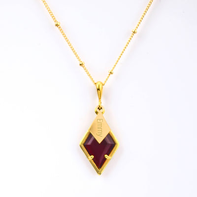 Diamond Shaped Birthstone and Name Necklace - January Garnet Quartz