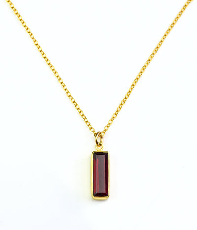 Garnet Vertical Bar Necklace : January Birthstone : Adira Series