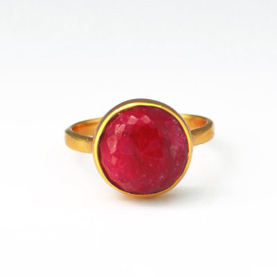 Ruby round bezel set ring - July Birthstone