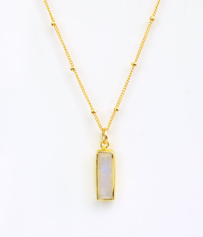 Rainbow Moonstone Vertical Bar Necklace : June Birthstone : Adira Series