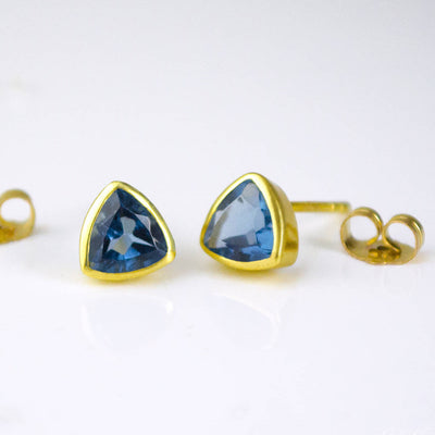 Small Kyanite Quartz Triangle Studs, Everyday Earrings