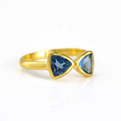 Kyanite Quartz Adjustable Triangle Ring, Bow Tie Ring