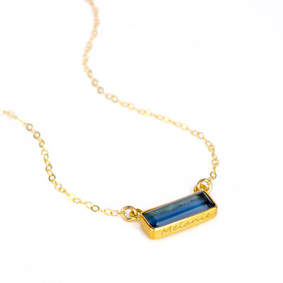 Kyanite Bar Necklace : September Birthstone : Adira Series