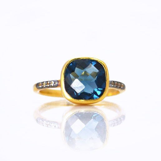 e6ad45ce235c9 Kyanite Vermeil Gold White Topaz Pave cushion cut ring - September  Birthstone