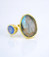 Double Stone Ring, Oval Labradorite Ring, Adjustable Ring, Blue Chalcedony ring