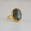 Labradorite large oval bezel set ring