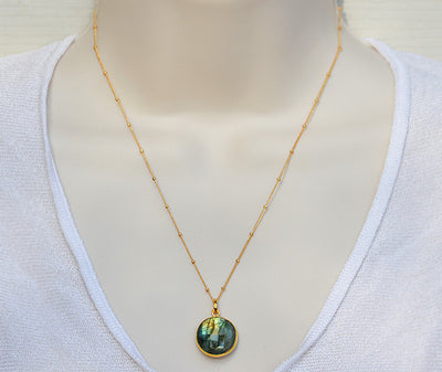 Labradorite large round bezel station Necklace