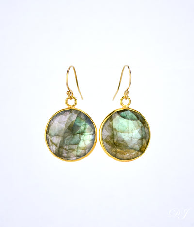 Labradorite large round Vermeil Gold or Sterling Silver bezel set Earrings