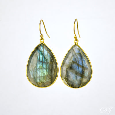 Faceted Labradorite Teardrop Bezel Set Earrings