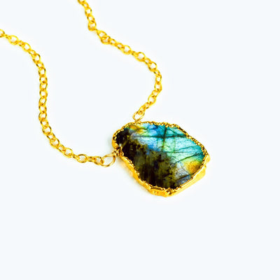 Natural Labradorite Slice Necklace with Organic Profile