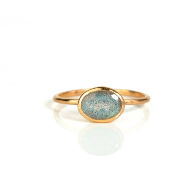 Small Oval Labradorite Ring