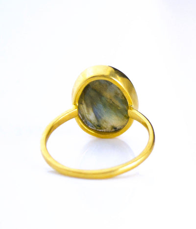 Labradorite Teardrop Oval Ring