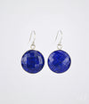 Lapis Lazuli large round bezel set Earrings - September Birthstone