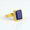 Lapis Lazuli Large Rectangle Bezel Set Ring - September Birthstone