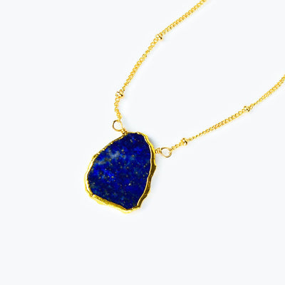 Natural Lapis Lazuli Slice Necklace with Organic Profile