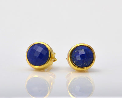 Lapis Small Round Bezel Set Stud Earrings - September Birthstone Earrings