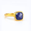 Lapis Lazuli Cushion Ring : September Birthstone