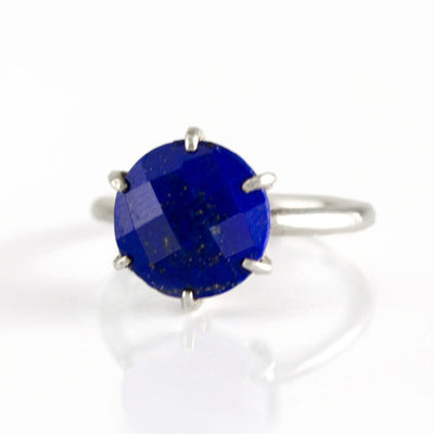 Lapis Lazuli Round Prong Set Ring - September Birthstone