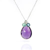 Custom Mother's Teardrop Birthstone Necklace with Tiny Round Kid's Birthstones