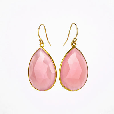 Faceted Pink Chalcedony Teardrop Bezel Set Earrings - October Birthstone