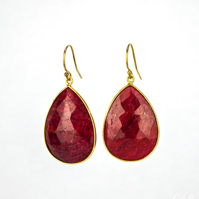 Ruby Teardrop Bezel Set Earrings - July Birthstone