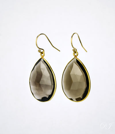 Faceted Smoky Quartz Teardrop Bezel Set Earrings