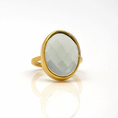 Green Amethyst Oval Ring - February Birthstone