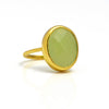 Green Chalcedony Oval Ring - August Birthstone