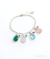 Mother's Charm Bracelet with Teardrop Birthstones and Initials