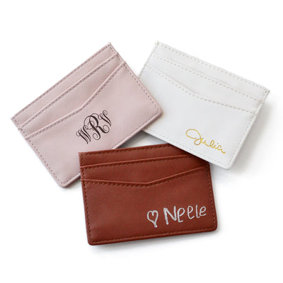 personalized leather cardholder with monogram