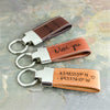 personalized leather loop keychains 3 leather colors actual handwriting laser engraving geographic coordinates or initials engraving
