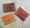actual handwriting or drawing laser engraving leather cardholder 3 colors 4 card pockets middle misc pocket