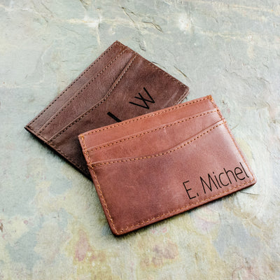 Engraved Leather Cardholder with Monogram or Handwriting