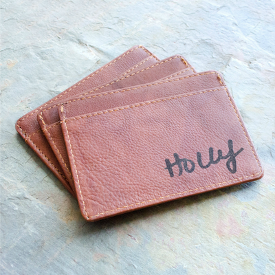 Engraved Slim Leather Cardholder with Monogram or Handwriting - Three Pockets