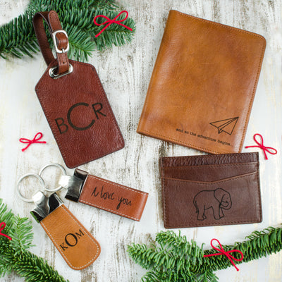 Personalized Leather or Cork Loop Keychain Clip