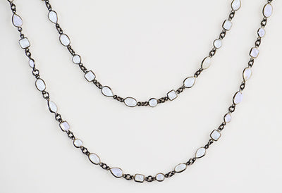Rainbow Moonstone long  station necklace - June Birthstone
