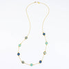 Long Aqua Chalcedony, Labradorite, Kyanite bezel station necklace