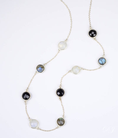 Long Labradorite, Moonstone and Black Onyx bezel station necklace