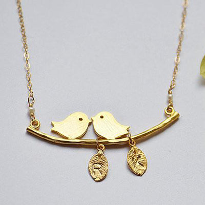 Personalized Lovebirds branch necklace