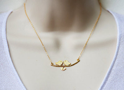 Personalized Family Lovebirds on a branch baby bird charms necklace