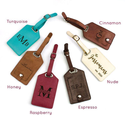 Personalized Leather Luggage Tag with Monogram or Handwriting