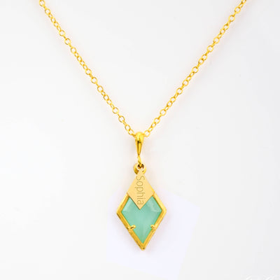 Diamond Shaped Birthstone and Name Necklace - March Aqua Chalcedony