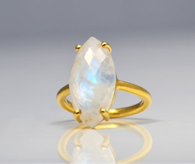 Rainbow Moonstone Ring - Marquise Prong Setting Ring - June Birthstone