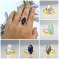 Lapis Ring - Marquise Prong Setting Ring - September Birthstone