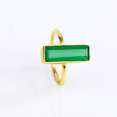 Green Onyx Gemstone Bar Ring, May Birthstone Geometric Ring