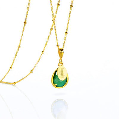 May Birthstone & Name Necklace : Green Onyx