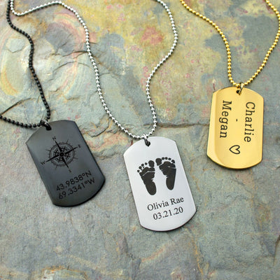 Personalized Dog Tag Necklace, Custom Traditional Military Style Jewelry