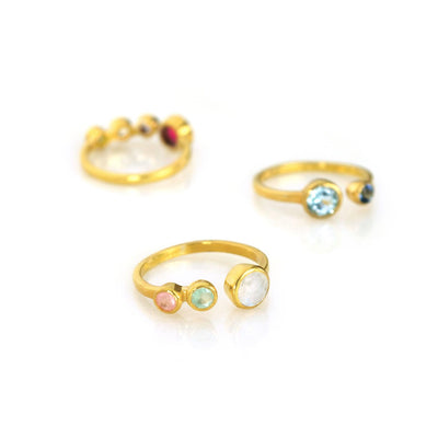 Multi Birthstone Adjustable Ring - Mom of Two Kids
