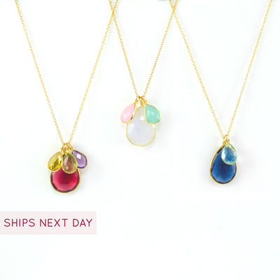 Necklace with Mom and Children's Birthstones